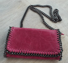 Pink Real Leather Clutch or Across Body Bag with Chain Edging & Strap