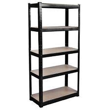 5 Tier Shelf Shelving Unit Racking Boltless Industrial Storage Steel Black Large