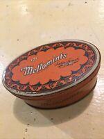 Vintage Advertising Mellowmints Retro Orange And Black Tin