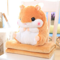 Plush Hamster Bolster Throw Pillow with Warm Blanket Sofa Cushion Toy Coffee