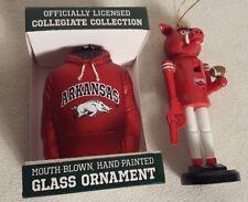 Lot 0f 2 Christmas Ornament University Of Arkansas Razorbacks Mascot and Hoddie