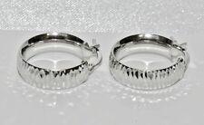 WEDDING RING CREOLE HOOP  EARRINGS 925 STERLING SILVER 20mm DIAMETER
