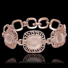 "18K Rose Gold Plated Cat's Opal Stone Rhinestone Chain Bracelet Bangle 8"""