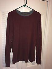 Abercrombie & Fitch Mens Burgundy Long Sleeve 100% Cotton Crewneck Shirt Size XL