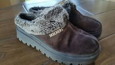 Women's Skechers Shindigs Fortress Suede Fur Trimmed Mules Clogs 8 Brown