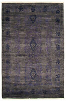 """Hand-knotted  Carpet 4'0"""" x 6'2"""" 18/20 Pak Finest Transitional Wool Area Rug"""