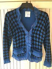 BRYAN BRADLEY Royal Blue & Black Houndstooth Print Cotton Sweater, XS