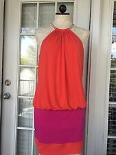 Laundry by Shelli Segal Ring Neck Color Block Blusson Dress Pink Orange 10 S2