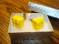 YELLOW LEGO Design Cuff links 1 Pair (Two) Hamilton Gold Plate * SPECIAL $3.00