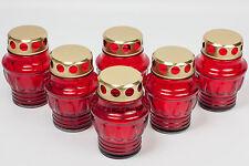Grablicht, Grablaterne, Grableuchte, Grabkerze 6er Pack, 8,0 x 11,5 cm,rot-gold