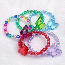 A Pack of 10  Girls Colourful Butterfly Bead Bracelets   W1370  w0101