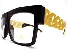 CLASSIC VINTAGE HIP HOP Clear Lens EYE GLASSES Matte Black Gold Chain Link Frame