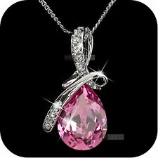 18k white gp made with pink SWAROVSKI crystal pendant wedding party necklace