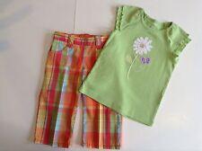 Gymboree Toddler Girls Set Top/Bottoms Cotton Green/Orange Multi Size 4T Used