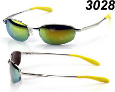 Mens Retro Old School Oval Metal Small Yellow Mirrored Lens Sunglasses Shades