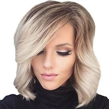 New Short Wavy Bob Wigs Ombre Brown Blonde Sythetic Wig for Women Inclined Bangs