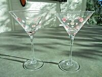 "Set of 2 Martini Glasses 7 5/8"" Tall"