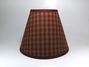 Primitive Country Sturbridge Burgundy Plaid Homespun Fabric Washer Top Lampshade