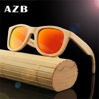 Handmade Natural Bamboo Wood Polarized Sunglasses Mirrored Wooden Glasses Hot