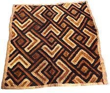 """Superb African Kuba Kasai Velvet Raffia Textile Zaire 26"""" by 26"""""""