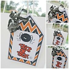 5 Personalised Halloween trick or treat Label gift tags party bags sweet cones