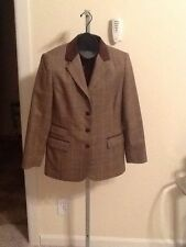 Talbots Plaid 4 Button Blazer Wth Leather Collar And Trims Size 8P
