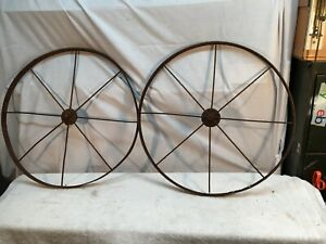 """Vintage Cast Iron Wagon/ Cart Wheels Pair 24"""" Diameter x 1in thick"""