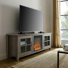 "Walker Edison 70"" Farmhouse Fireplace Wood TV Stand - Grey Wash New"