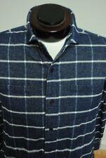 Ledbury Shirt Button Front Navy Blue Cotton Checks L Large Slim Fit W45