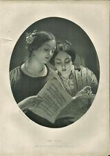 Antique B&W Illustrated Print The Duet J Sant & F Holl Art Journal Vol 1 1862