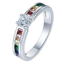 Nice Women Jewelry Mix  Gemstone 925  silver Wedding Ring Size10 M545