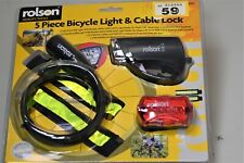 Rolson 5 piece Bicycle light & cable lock, new boxed. tag59. ManufactureWarranty