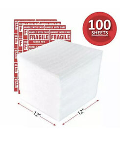 """100 Foam Wrap Sheets 12X12"""" Cushion Shipping Moving Packing NOT Pouch Perforated"""