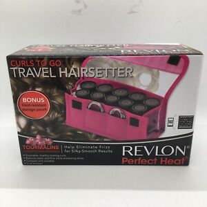 REVLON 10 piece Ionic Pink Perfect Heat Travel HairSetter Rollers Pageant Curls