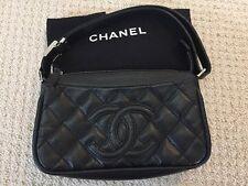 Authentic Chanel Caviar Black Logo Adjustable Length Shoulder Bag