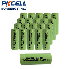 20pcs 2/3 AAA 1.2V 400mAh NiMh Rechargeable Battery No Tab Flat Top PKCELL