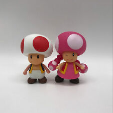 """2X Super Mario Bros. Toadette & Toad Plastic PVC Figure Toy Doll 4"""" Collectible"""