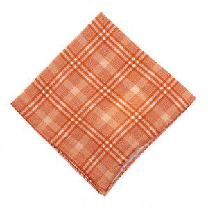 NWT RODA Orange and White Plaid Check Print Linen Pocket Square