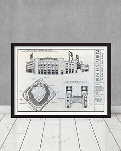 Framed Busch Stadium Blueprint St Louis Architecture Cardinals Gift Decor Art