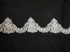 Ivory eyelash style floral lace trim Bridal Wedding gown lace trim. by Per Yard