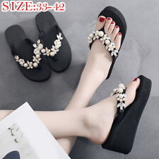 Women Lady  Wedge High Heels Sandals Crystal Flip Flops Shoes Size 33-42