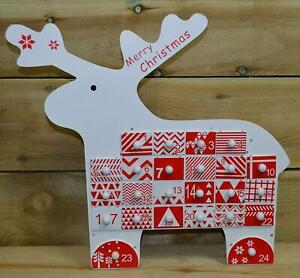 Wooden Advent Calendar Reindeer Shaped The Christmas Workshop 86150 With Drawers