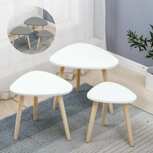 Nest of Tables 3 Table Unit Wood Legs Living Room Side Lamp Coffee Furniture
