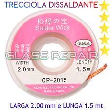 TRECCIOLA TRECCIA DISSALDANTE ASSORBI STAGNO SALDATURA CP-2015 2mm LUNGA 1,5mt