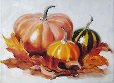 "Pumpkins / Original Oil on Stretched Canvas by Natalie Diagileva / 12"" x 8.8"""