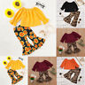 2pcs Toddler Baby Girls Solid Tops T-shirt+Leopard Print Flare Pants Outfit Set