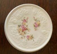 Antique Porcelain Tea Pot Trivet Painted Pink & Yellow Roses Embossed Edges