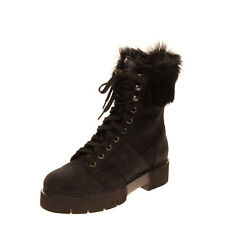 O.X.S. Leather Combat Boots Size 38 UK 5 US 7.5 Rabbit Fur Trim Extralight Sole
