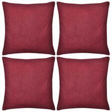 vidaXL 4x Cushion Covers Cotton 40x40cm Burgundy Throw Pillow Case Protect