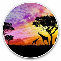 2 x Vinyl Stickers 7.5cm - African Sunset Giraffe Elephant Cool Gift #12325